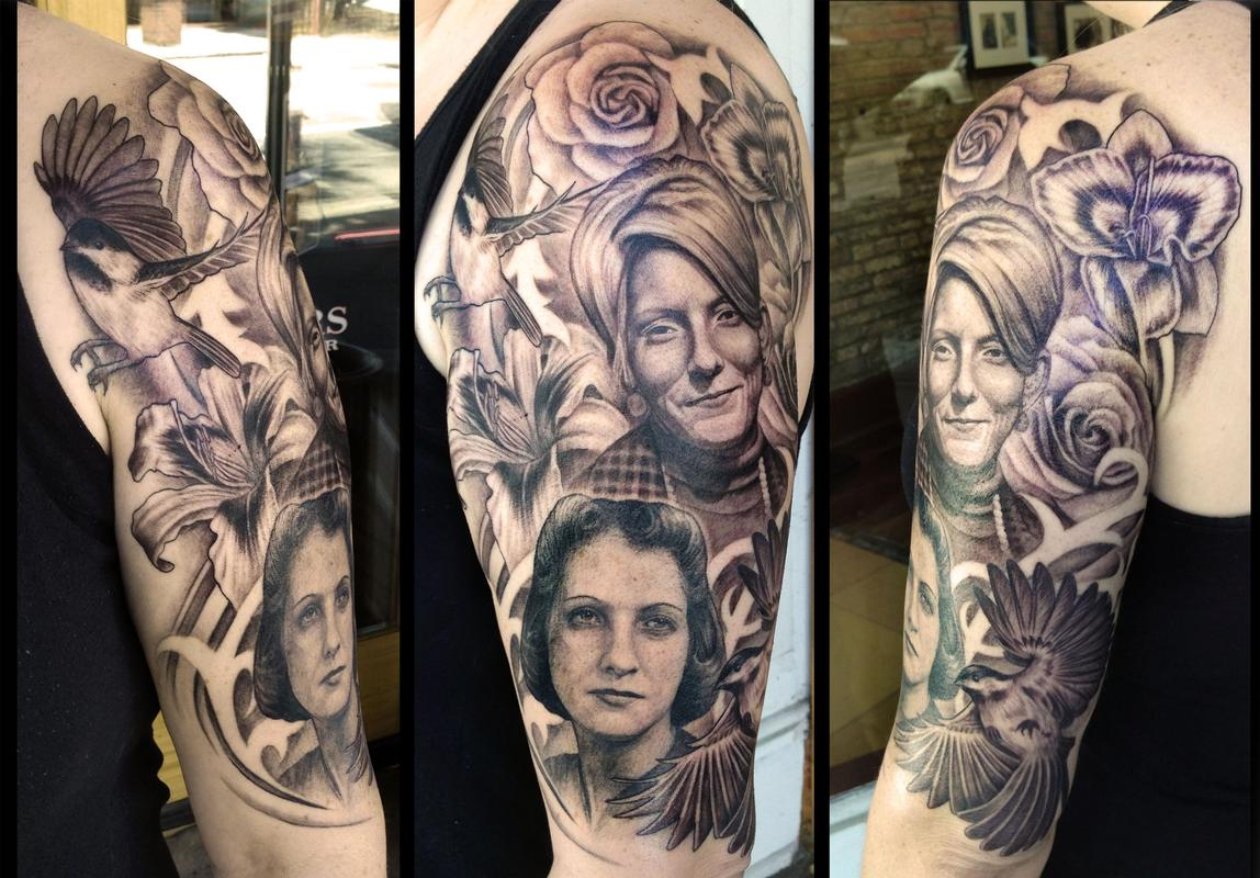 Family portrait tribute tattoo  Tattoo Design Thumbnail